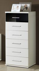 MULBERRY 6 Drawers Black and White Narrow Chest Of Drawers