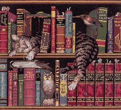 Endearing feline portrait features cats curled up with good books Counted cross stitch kit is ideal for both the cat lover and the bibliophile Needlework set includes everything you need for a fun cra