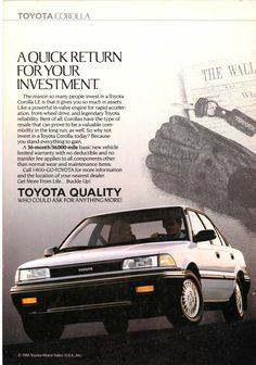 1989 Toyota Corolla LE ad from - National Geographic March 1989