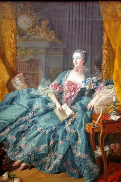 King Louis XV's most famous mistress, Jeanne Antoinette Poisson—better known as Madame de Pompadour 1756 Madame Pompadour, Rococo Painting, Victorian Paintings, Victorian Art, Rococo Fashion, 18th Century Fashion, Woman Reading, Old Paintings, Classical Art