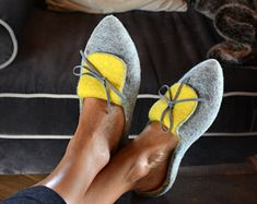 Mules Felt Shoes Flat Ballerinas Pointy Flats Grey Clogs Stylish Slippers Fairytale-gift Best winter women gift For-girlfriend Mothers Day