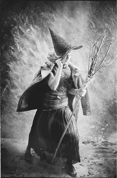 vintage witch in storm - Vintage Halloween Witches