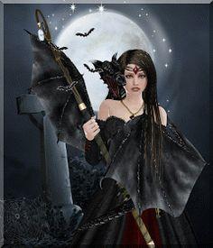 Moonlight & Magic by Poser Fantasy Wicca, Celtic Goddess, Satanic Art, Cg Artist, Beautiful Gif, Gothic Art, Community Art, Dark Art, Moonlight