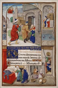Birth scene in a Book of Hours, Oxford, Bodleian Library MS Douce Medieval Manuscript, Illuminated Manuscript, Christian Devotions, Book Of Hours, Duchess Of Cambridge, Middle Ages, Christianity, Renaissance, Beast