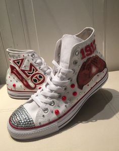 ce02489bad5c44 Customized Chuck Taylor with DST Greek letters and hand logo