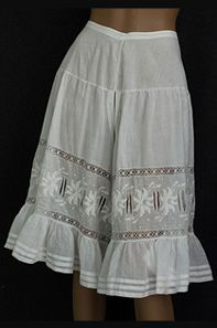 Fancy hand-embroidered knickers, c.1905. Meant for an audience of one: the wearer's husband or special friend.