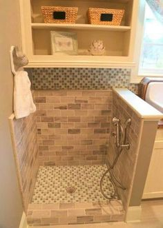 Muddy feet & Pet wash for laundry room Laundry Room Storage, Storage Room, Storage Shelves, Alcove, Tile Floor, Pantry, Storage Shelving, Laundry Storage, Subway Tiles