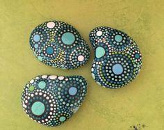 Hand Painted Rocks Mandala Inspired Design by etherealandearth