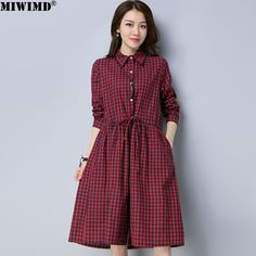 Find More Dresses Information about MIWIMD 2018 New Fashion Autumn Winter Women  Casual Loose Plaid Cotton · Winter Dress ... 2427c9e11176