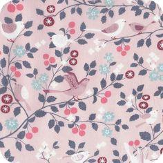Tissu Froufrou pink birds