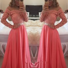 J73 custom made a line floor length long sleeves coral lace prom dress, coral lace