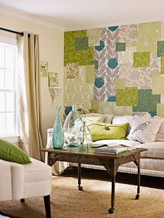 Scrapbook paper as wallpaper... I am doing this in my office!