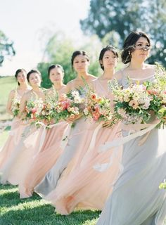 A Pastel Farm Wedding With Whimsical Details and Mini Horses Beautiful Bridesmaid Dresses, Bridesmaid Outfit, Wedding Bridesmaid Dresses, Mod Wedding, Farm Wedding, Dream Wedding, Pastel Bouquet, Romantic Wedding Inspiration, Dusty Blue Weddings