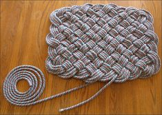 Instructions for making Old Climbing Rope Rug, I'm thinking to use old jean seams sewn together...??