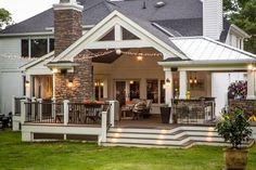 Backyard Patio Designs, Patio Ideas, Backyard Porch Ideas, Back Deck Ideas, Backyard Decks, Sunroom Ideas, Deck With Pergola, Backyard Retreat, Pergola Patio