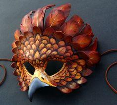 Fantasy Golden Eagle - Leather Mask by Brenda Lyons - Brenda Lyons Illustration Leather Mask, Leather Armor, Tooled Leather, Eagle Mask, Bird Masks, Marionette, Golden Eagle, Carnival Masks, Venetian Masks