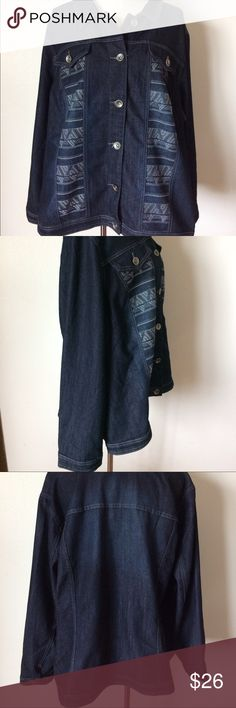 CJ Banks Plus Size Modern Denim Jacket CJ Banks Plus Size Modern Denim Jacket, Stylish tribal design on front, dark wash, size 3X. cj banks Jackets & Coats Jean Jackets