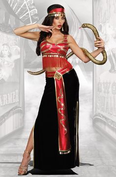 Our Snake Charmer Circus Halloween Costume includes red metallic top with gold sequin snakes and gold coin trim, Floor-length black velvet skirt with red satin Circus Themed Costumes, Circus Halloween Costumes, Circus Theme Party, Halloween Kostüm, Diy Costumes, Costume Ideas, Adult Costumes, Freak Show Costumes, Freak Show Halloween