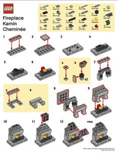 LEGO Fireplace Instructions/model use/can make with real materials for working fireplace Lego Christmas Village, Lego Winter Village, Lego Modular, Lego Design, Ux Design, Lego Duplo, Legos, Instructions Lego, Casa Lego