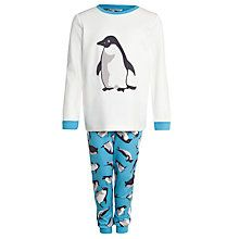 Buy John Lewis Boy Monty & Mabel Long Sleeve Jersey Pyjamas, Cream/Blue from our Boyswear Offers range at John Lewis & Partners. Penguin Clothes, Penguin Love, Smart Set, Boys Pajamas, Christmas Pajamas, Pajama Shorts, John Lewis, Nightwear, Dressing