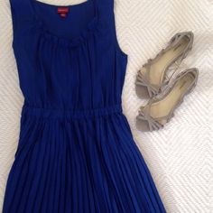 Summer dress This royal blue, fit and flare dress is very flattering comes to right about your knee. Very rich in color and has a silky material. Merona Dresses Midi
