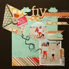 A great scrapbook layout to capture your spring kite flying fun!