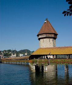 Wasserturm.. An icon of Lucerne is the Chapel bridge (but it hasn't got a chapel) and the Water Tower in the middle of the Reuss river