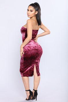 Doris Velvet Dress - Burgundy