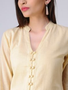 Beige Cotton Mul Kurta with Potli Buttons