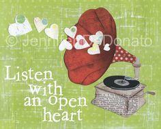 Listen With An Open Heart Art Print by colorflystudio on Etsy, $10.00