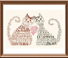 Lets Be Friends - cross stitch pattern designed by Ursula Michael. Category: Words.
