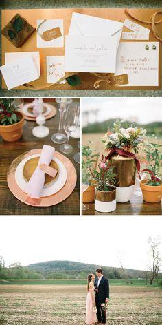 Blush & Copper Wedding Inspiration   Farm to Table Wedding Inspiration   Vermont Bride Magazine