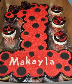 Number 1 First Birthday Pull-Apart Cake with matching Ladybug Cupcakes by Summer's Sweet Treats