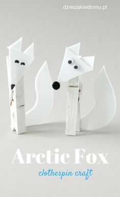 Animal Crafts For Kids, Craft Activities For Kids, Preschool Crafts, Art For Kids, Fox Crafts, Craft Stick Crafts, Arctic Decorations, Wolf Craft, Artic Animals