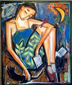 Художник: Denis Chiasson.  #книги #чтение #books #reading #book #книга #искусство #art #картина #художник #женщина #отдых #картины #творчество #красиво