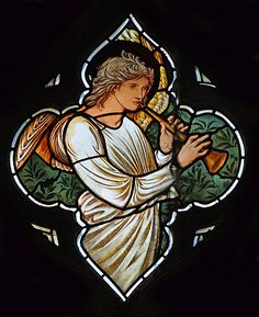 Angelic Trumpeter. This window by Burne Jones is in Oxford's Christ Church Cathedral.