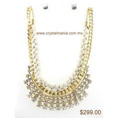Set de collar y aretes en ton dorado con cristales estilo 30309