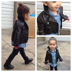 yup!!!  Little 77 by American Eagle jacket, Baby Gap denim shirt, American Apparel leggings, Zara boots