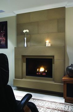Nutmeg Block Cast Concrete Fireplace Mantel    With wall tiles and custom floating hearth -for more information: www.solusdecor.com
