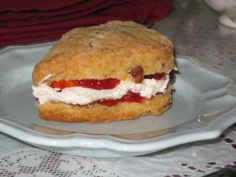 Scone w/devonshire and strawberry preserves from Hart Sisters TeaRoom!