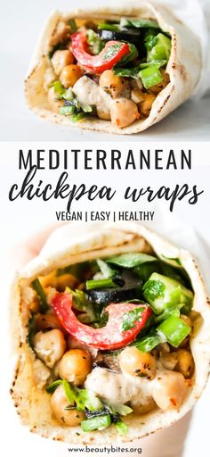Mediterranean Chickpea Wraps (Meal Prep Option) - Beauty Bites - You are . - Mediterranean Chickpea Wraps (Meal Prep Option) – Beauty Bites – You are in the right place for - Vegan Chickpea Recipes, Vegan Dinner Recipes, Vegan Dinners, Whole Food Recipes, Vegetarian Recipes, Cooking Recipes, Healthy Recipes, Healthy Meal Options, Natural Food Recipes