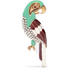 Marc Jacobs Parrot burnished gold-tone, Swarovski crystal and enamel... (1.880 ARS) ❤ liked on Polyvore featuring jewelry, brooches, green, multi color jewelry, marc jacobs jewelry, enamel brooches, gold colored jewelry and gold tone jewelry