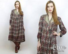 70s Boho Maxi Dress Vintage Maxi Dress Indian by StarletVintage
