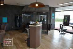 décoration industrielle, décoration salon de coiffure style indus, serre en métal dans salon de coiffure,Rénovation et décoration salon ART COIFFURE à St Alban (22)