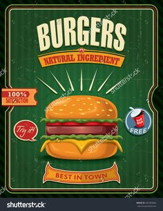 Resultado de imagem para burger vintage poster