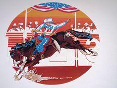 1976 Rodeo Lithograph - SADDLE BRONC RIDER  Nat'l Finals Rodeo Hesston Corp NOS #WesternMotif