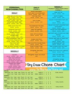 """DRY ERASE CHORE CHART - I like the personal + shared responsibilities and the """"choose element. Also like how some chores are split between older & younger sibs. Chore Rewards, Kids Rewards, Chore List, Reward System For Kids, Reward Chart Kids, Behavior Rewards, Rewards Chart, Behavior Charts, Teen Chore Chart"""