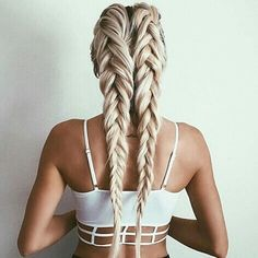 Double braids created with our soon to be re-released #EDENashblonde. And yes you can create this look with clip ins.