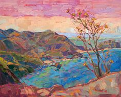 Early California style coastal painting with mustard flowers, by Erin Hanson