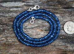 Kyanite Necklace  3-4mm Blue Kyanite micro by NaturalRockShop